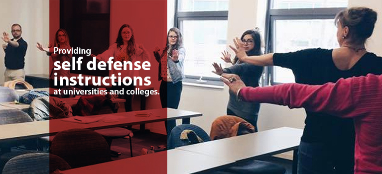 Providing self defense instructions at universities and colleges.